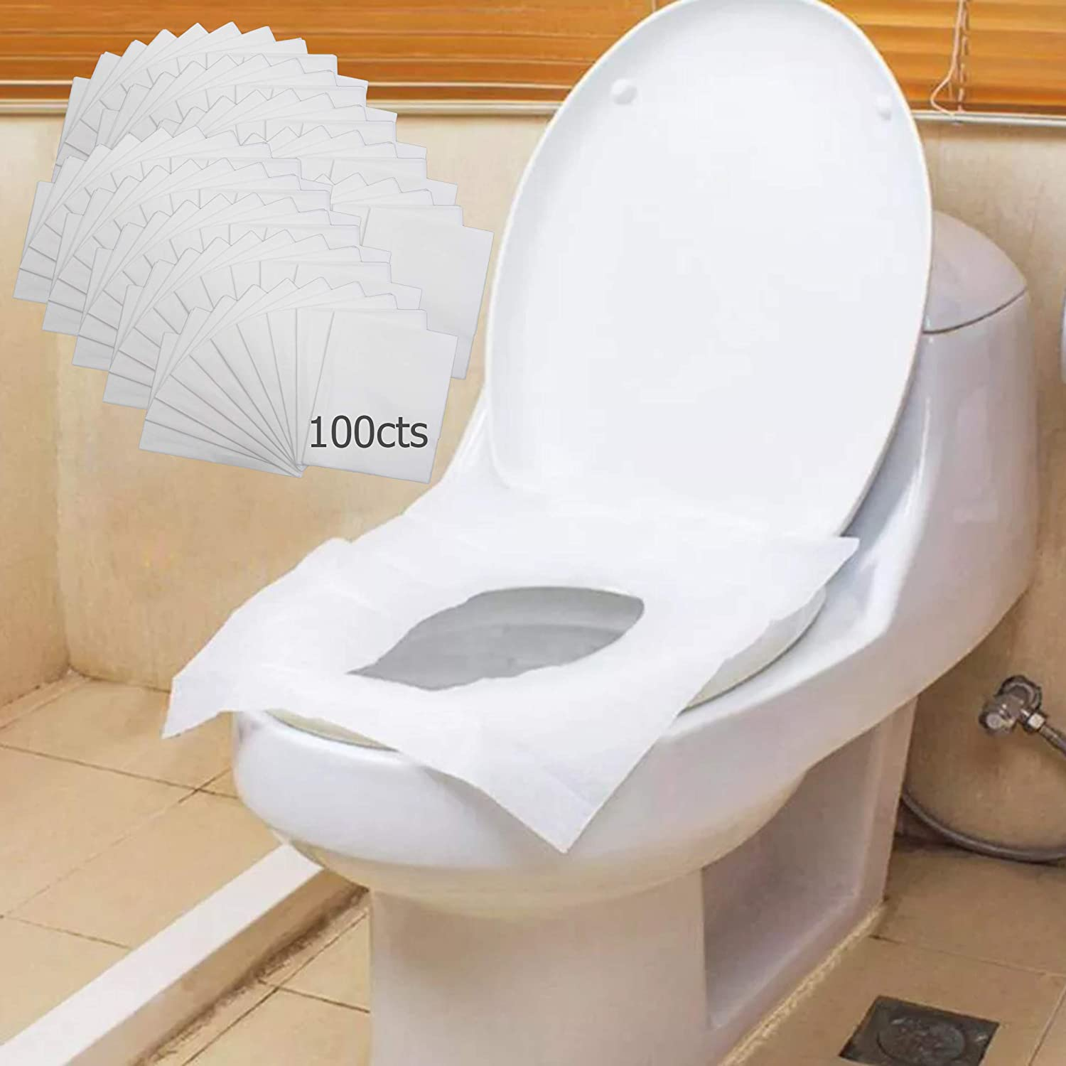 10 50 On the Go Hygiene Disposable Toilet Seat Covers Portable Set Great for Travel Home Office and For Kids Pack of 10 100 Potty Covers