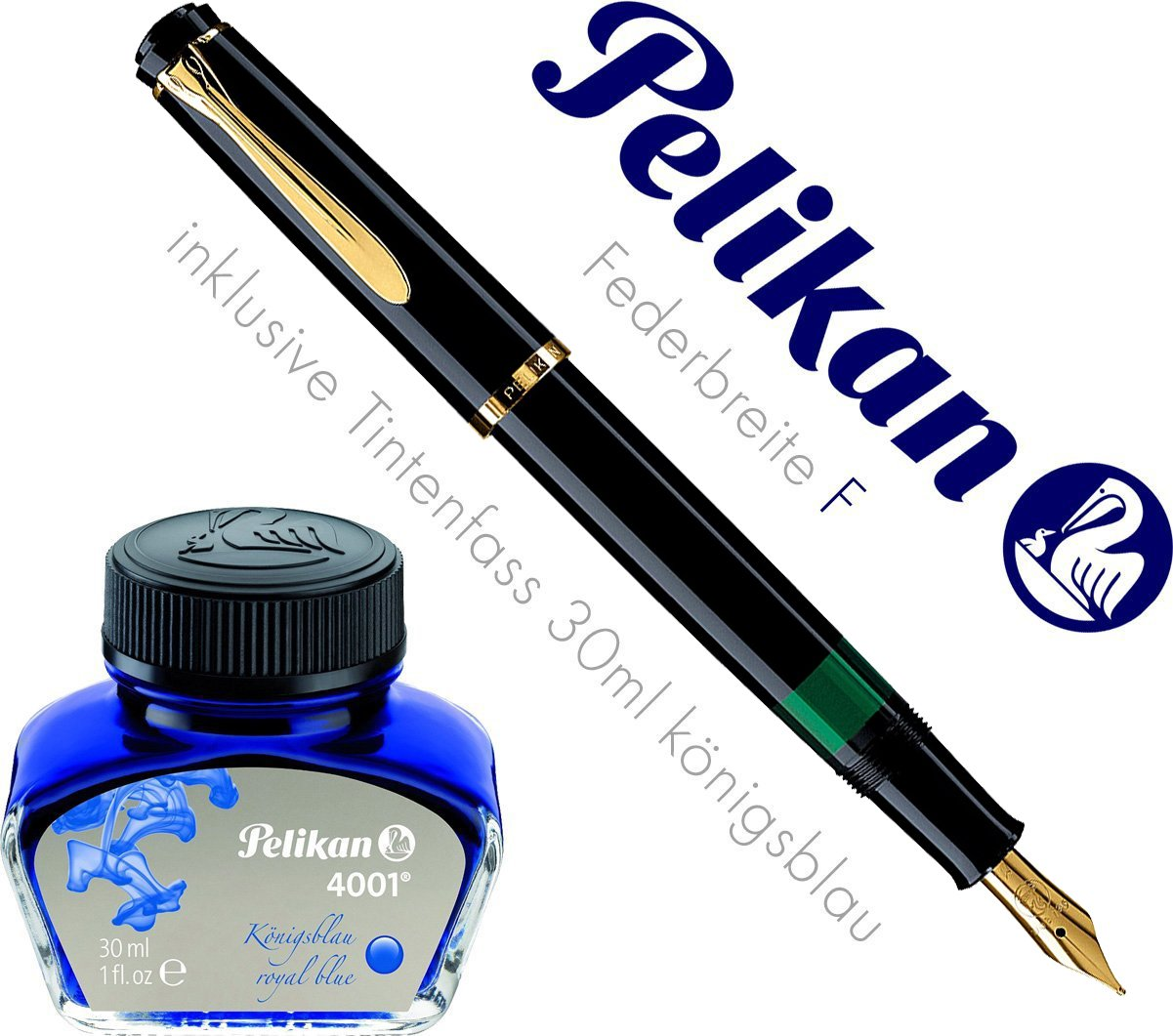 Pelikan 983072 Kolbenfüllhalter Classic M 200 vergoldete Edelstahlfeder Federbreite B, 1 Stück, schwarz 1 Stück SC-MS-983072