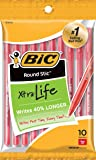 BIC Round Stic Xtra Life Ballpoint Pen, Medium Point (1.0mm), Red, 10-Count