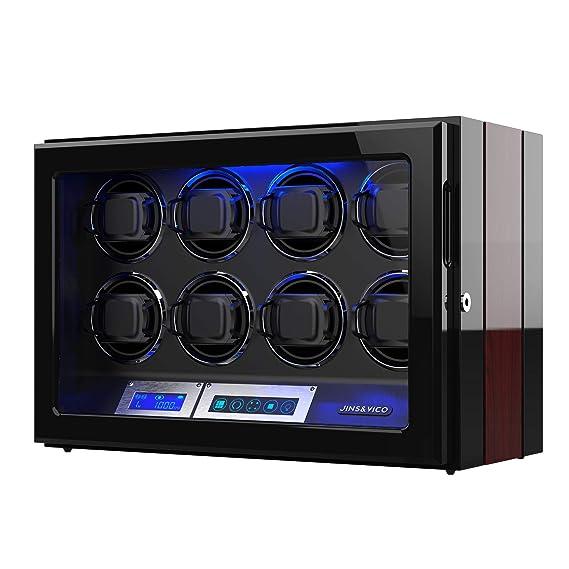 Cargador de Relojes Automáticos con Pantalla Táctil LCD, Acabado de Madera con Almohadillas de Reloj Ajustables, 8 Espacios de Enrollamiento Watch ...