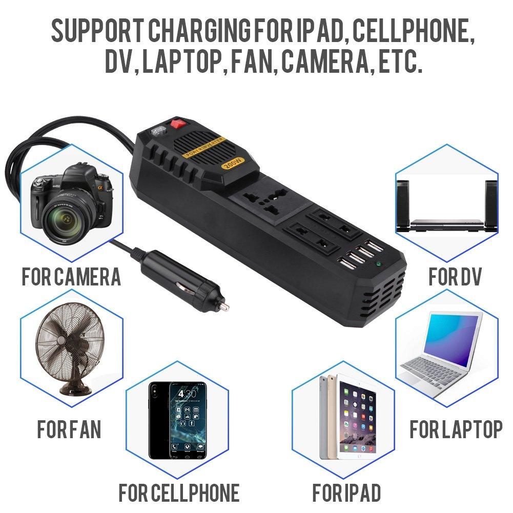 Smart Phone KIMISS KI6375 200W Power Inverter Convertitore da auto DC 12V a AC 220V W//Accendisigari 4 USB Caricatore Porta di ricarica Universale per laptop