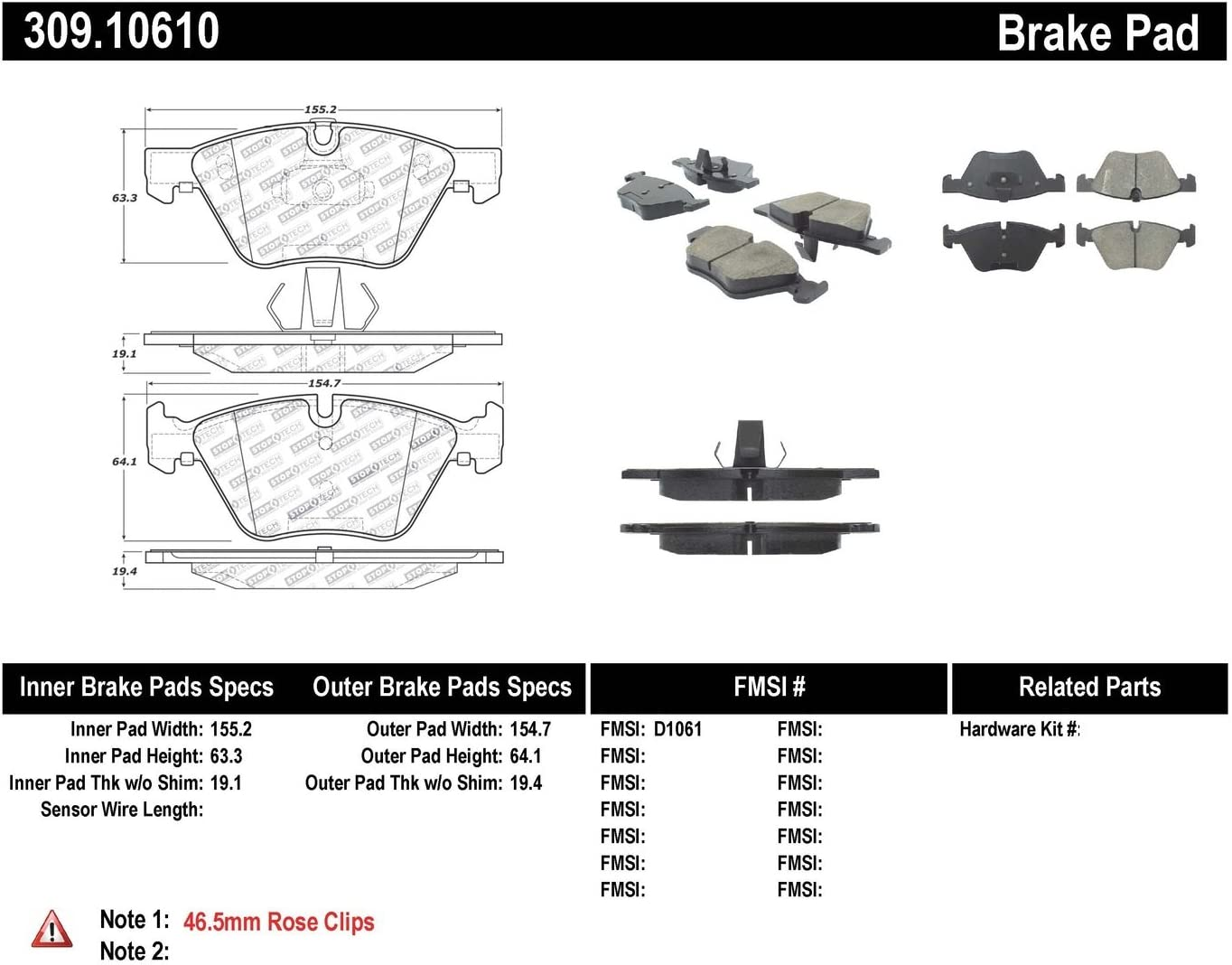 StopTech 309.10610 Street Performance Front Brake Pad