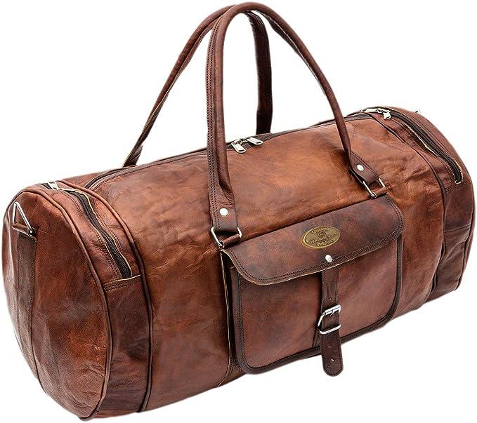 Men/'s Brown Vintage Lightweight Leather Goathide Travel Luggage Duffel Gym Bag