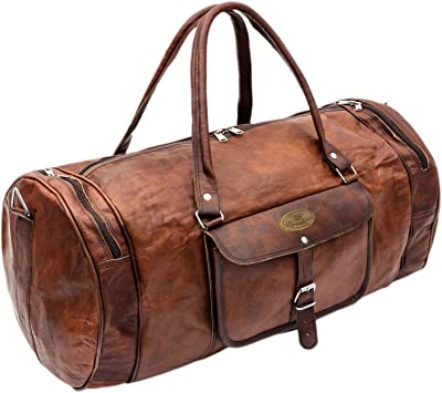 "New 24/"" Men/'s duffel genuine Leather large vintage travel gym bag tote carry on"