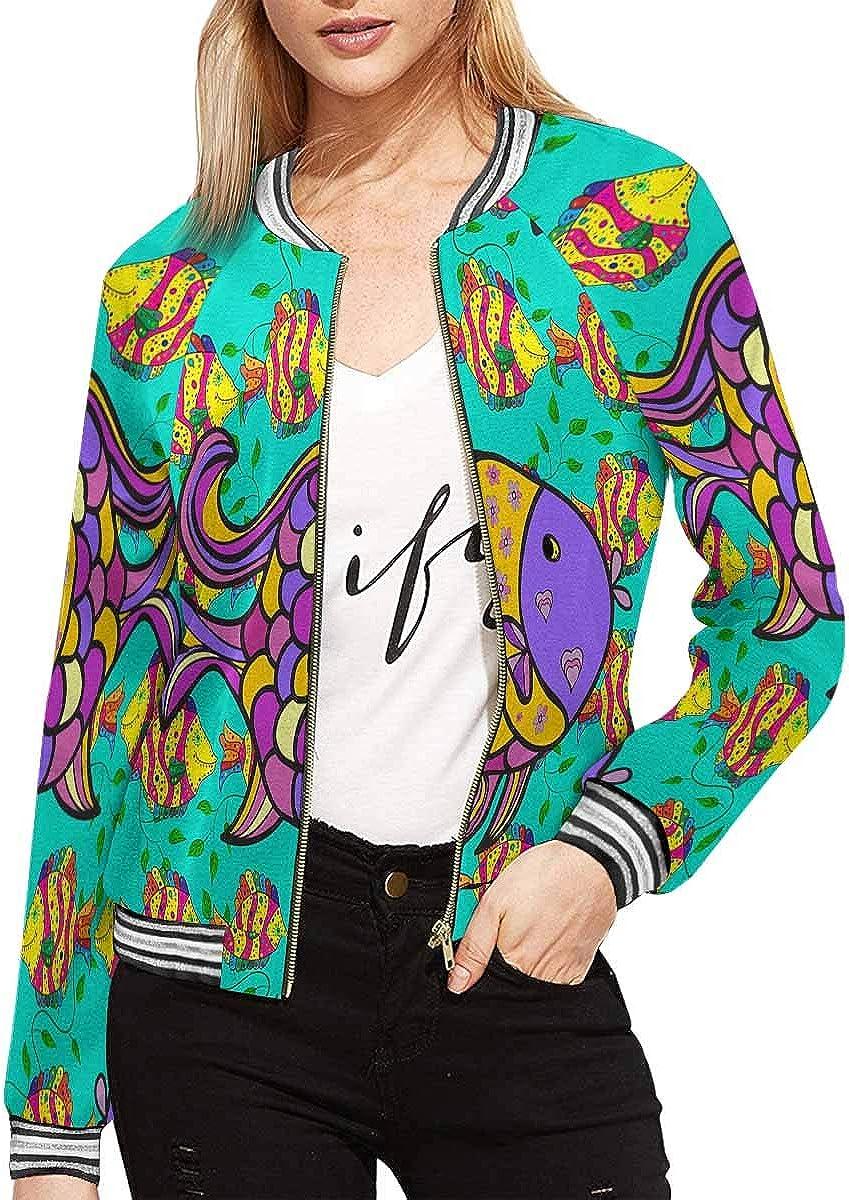 INTERESTPRINT Womens Colorful Fish Zipper Bomber Jacket