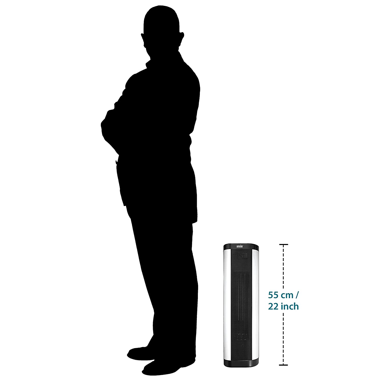 24-Stunden-Timer /& 2 Heizstufen *** Aktionspreis *** ANSIO Oszillierender PTC-Turm Keramik Heizl/üfter mit Fernbedienung 2000 W Upright//Flachbett-Heizl/üfter Interne Oszillation