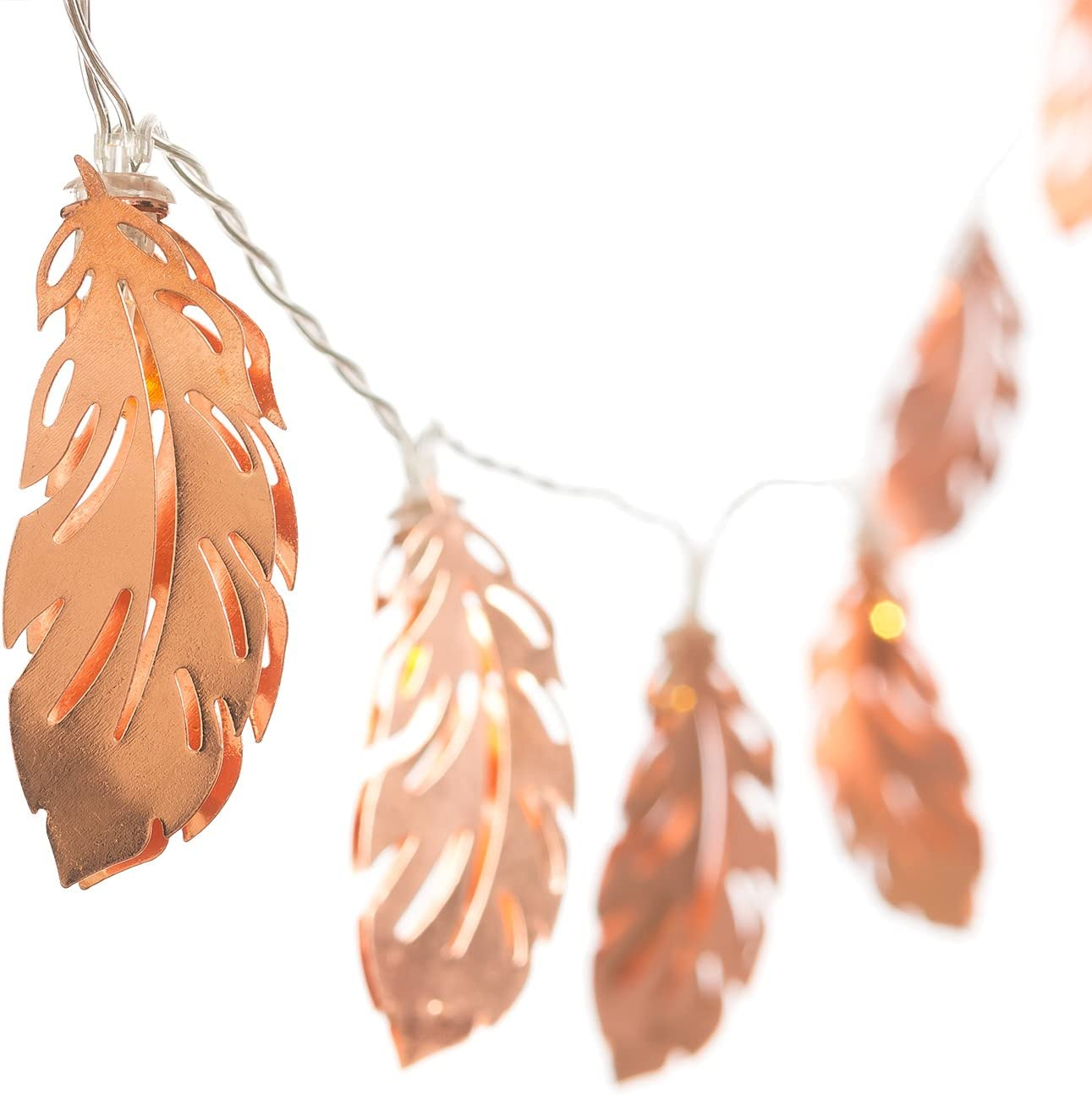 Ling's moment Rose Gold Feather Lantern String Lights 12Ft 30 LED USB & Battery Powered Copper Metal Outdoor String Light for Party Bedroom Bohemian Wall Decor
