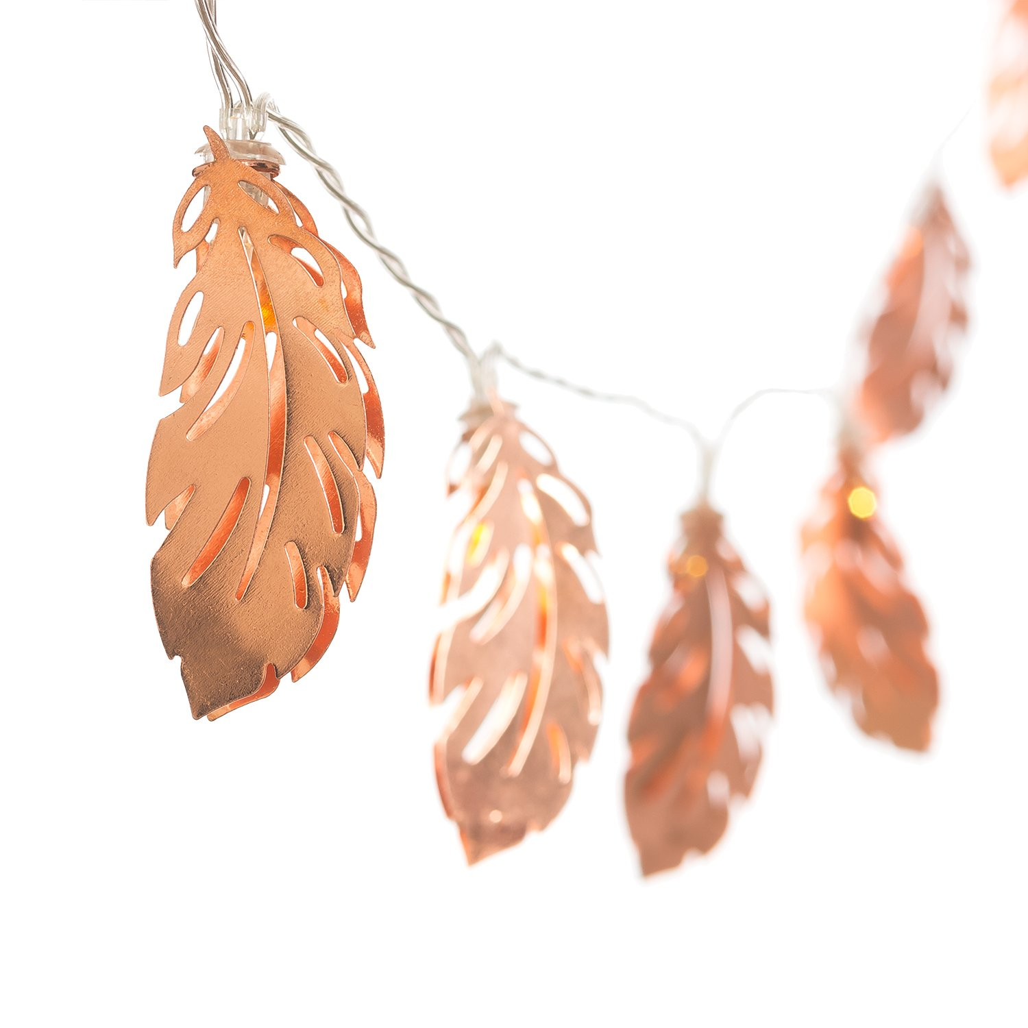 Ling's moment Rose Gold Feather Copper Metal 5Ft 10 LED Lantern String Lights USB & Battery Powered for Bedroom Decor Fairy Lights Bohemian Decorations Wall Decor Bridal Shower Patio Lighting