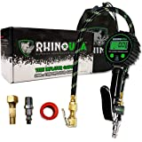 """Rhino USA Digital Tire Inflator with Pressure Gauge (0-200 PSI) - ANSI B40.1 Accurate, Large 2"""" Easy Read Glow Dial, Premium"""