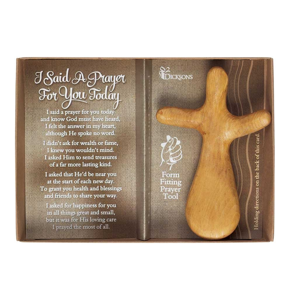 Said a Prayer for You Pinewood 5 x 7 Wood Hand Carved Cross Figurine Dicksons NCW-103