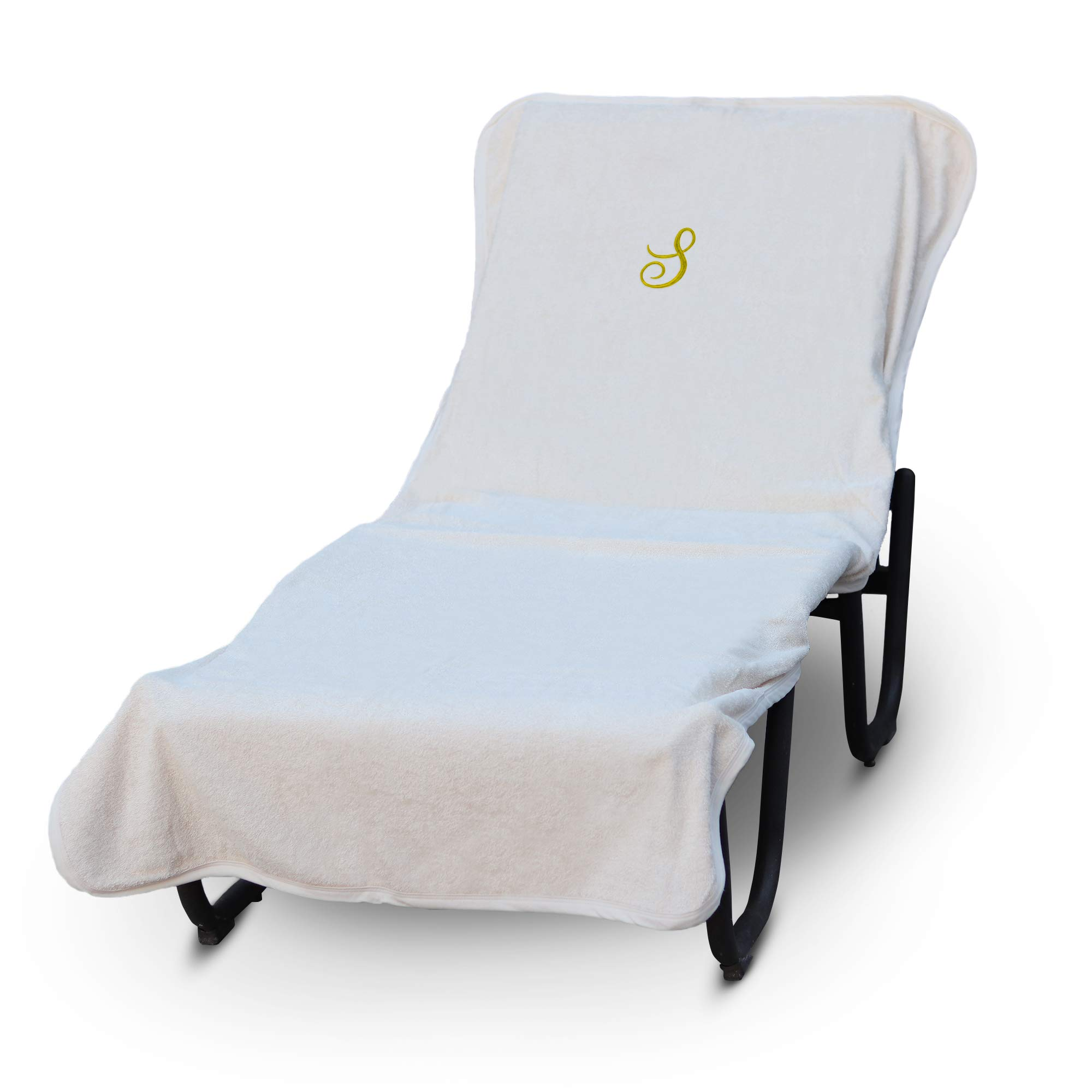 Luxury Hotel & Spa Monogrammed Pool Chaise Lounge Cover, Gold Embroidered Towel - Extra Absorbent 100% Turkish Cotton- Soft Terry Finish - Hotel-Style, Standard Size - Script S White