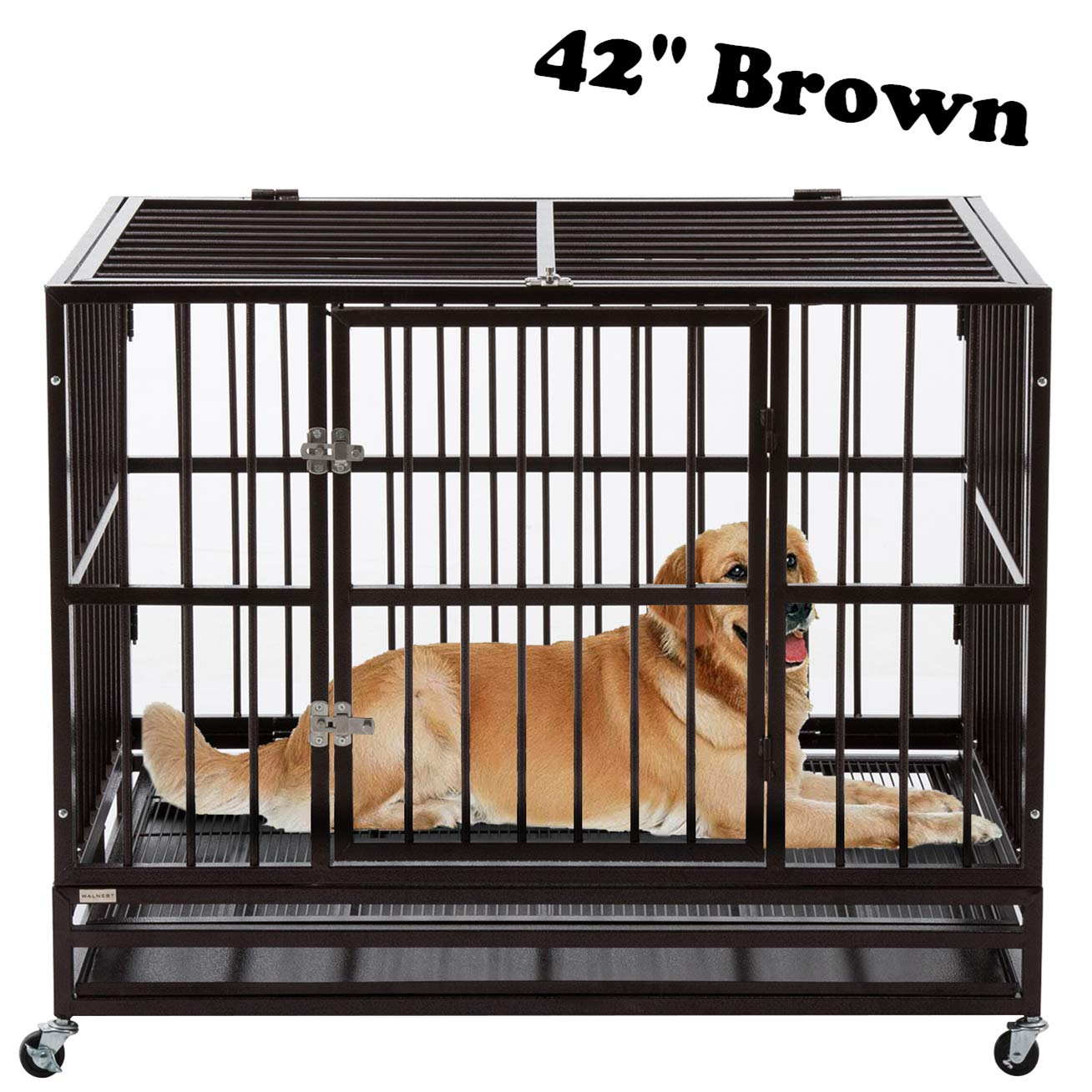 Sliverylake Xxl 42 Dog Cage Crate Kennel Heavy Duty Pet Playpen Cage Double Door With Rolling Wheels And Tray Amazon In Pet Supplies