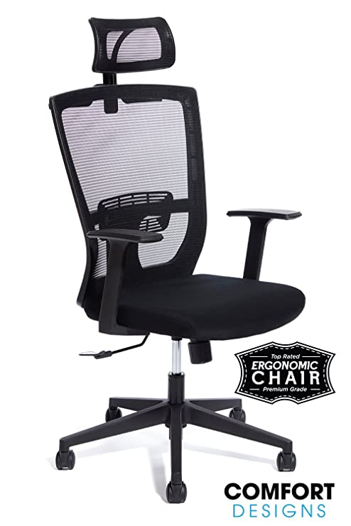 Fabulous Premium High Back Mesh Office Chair By Comfort Designs Ergonomic Desk Chair Lumbar Back Support With Headrest Commercial Grade Self Adjusting Home Interior And Landscaping Spoatsignezvosmurscom