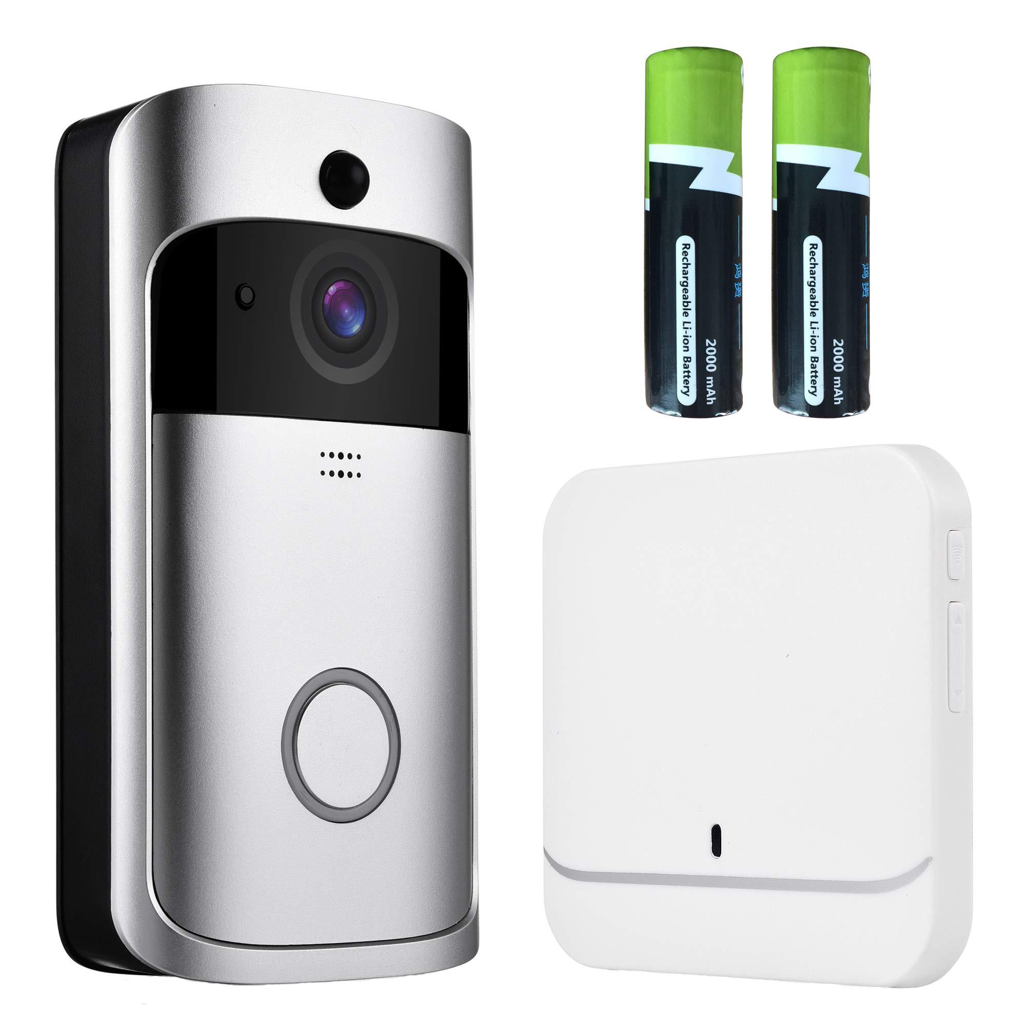 Video Doorbell- OnLyee WiFi 1080P Full HD Real-time Smart Doorbell with IP 65 Waterproof, PIR Montion Detection, Free Cloud Storage, Two-Way Audio and 433Mhz Doorbell Chime (1080P Silver)