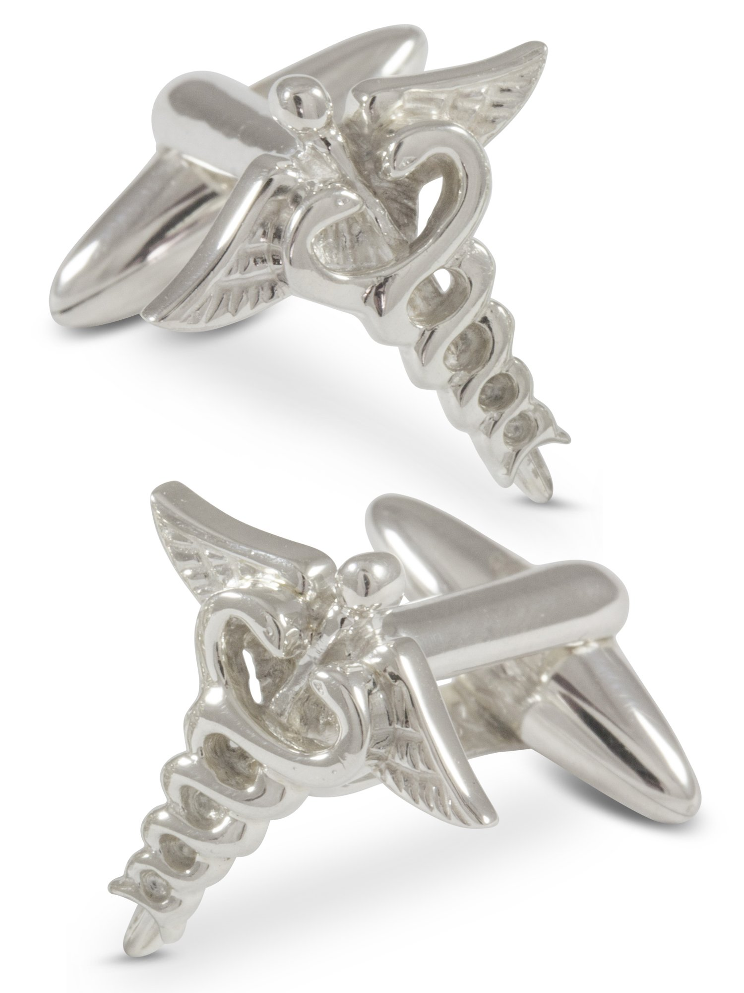 ZAUNICK Medical Doctor Caduceus Cufflinks, Sterling Silver by ZAUNICK (Image #1)