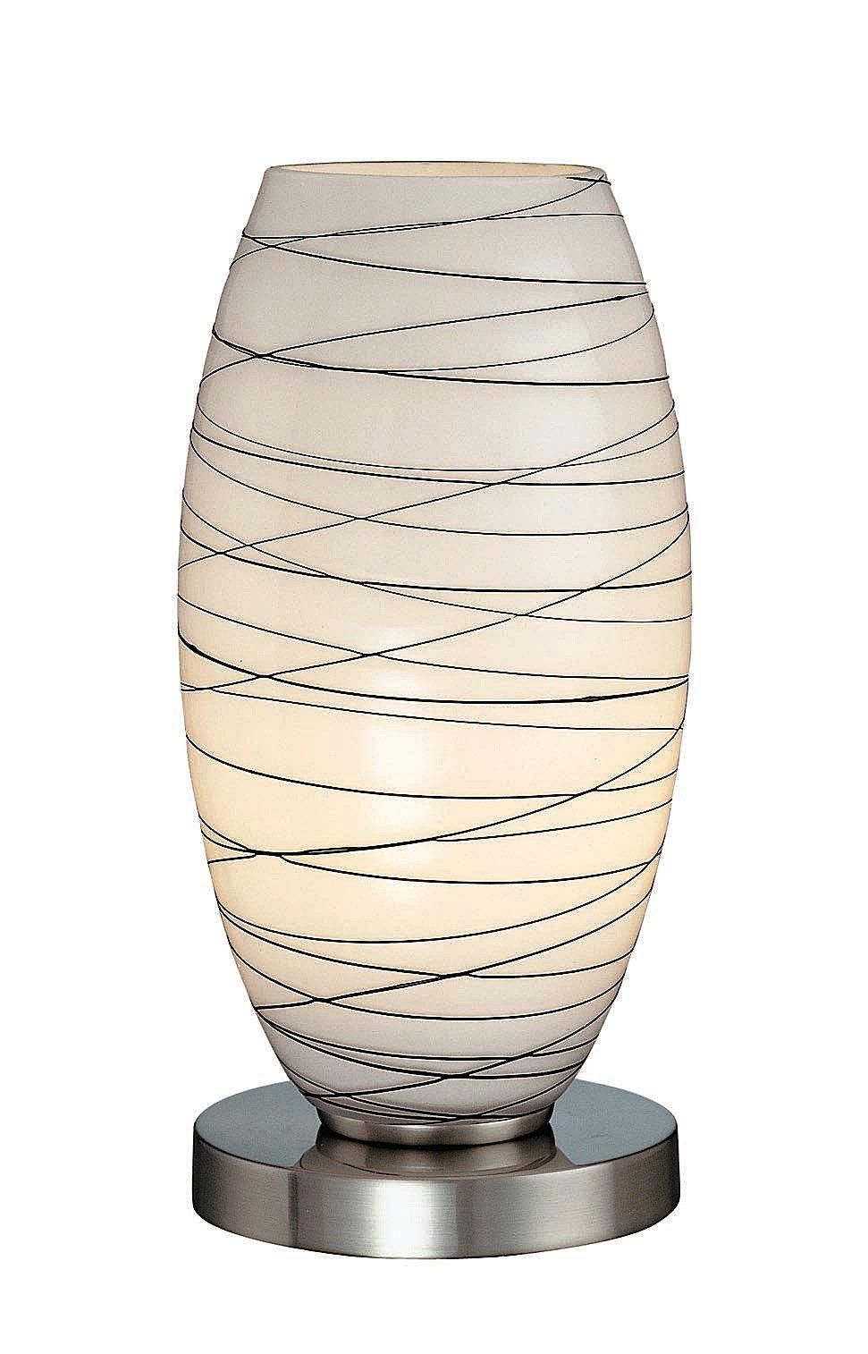 Lite Source LS-20855 Giacomo Table Lamp, Polished Steel with Glass Shade, 10'' x 9'' x 9'', Metallic