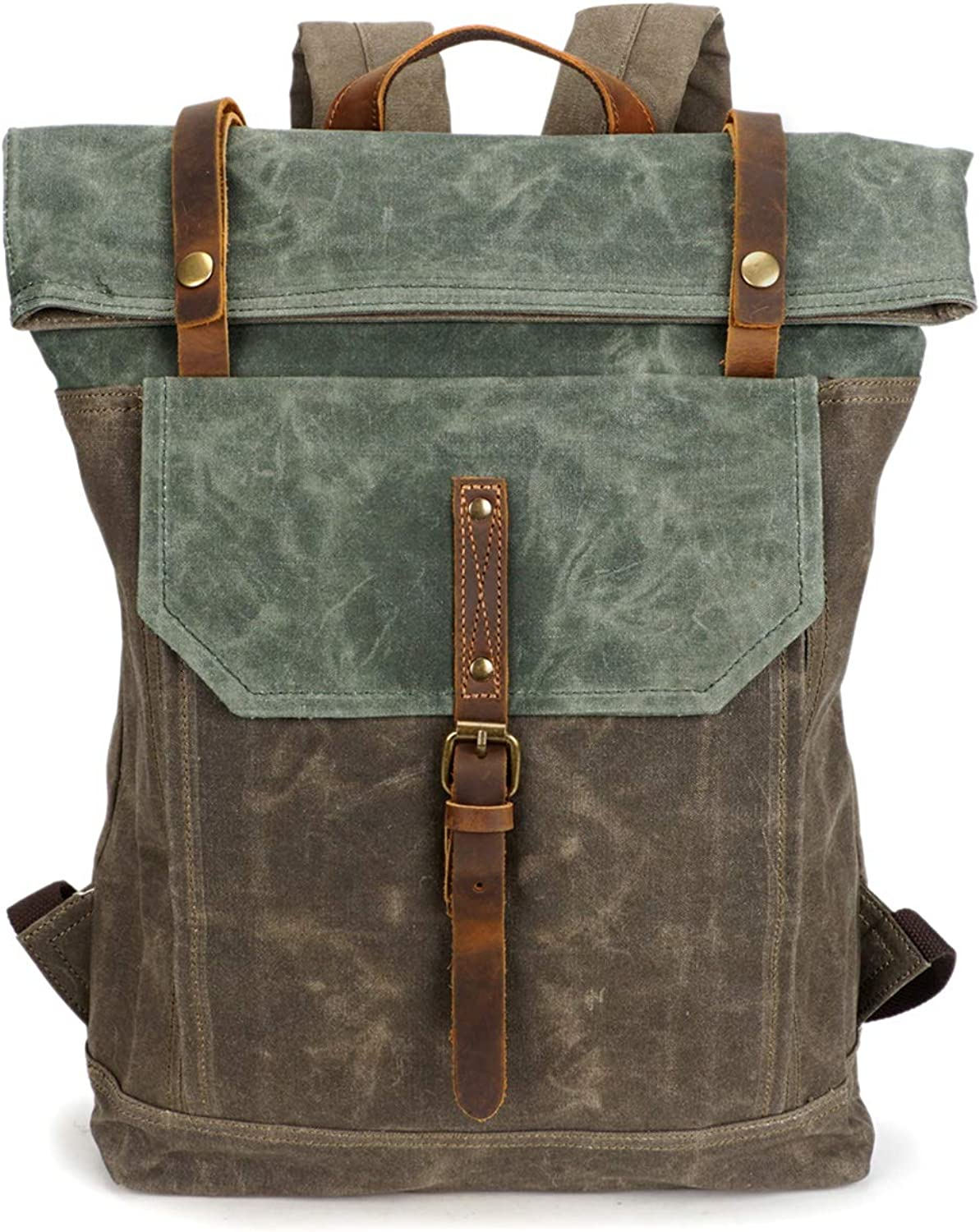 Waxed Canvas Rustic Backpack, Fintie Water Proof Roll Top Travel Hiking Rucksack Leather Daypack for School Work Men Women, Fits 17.3