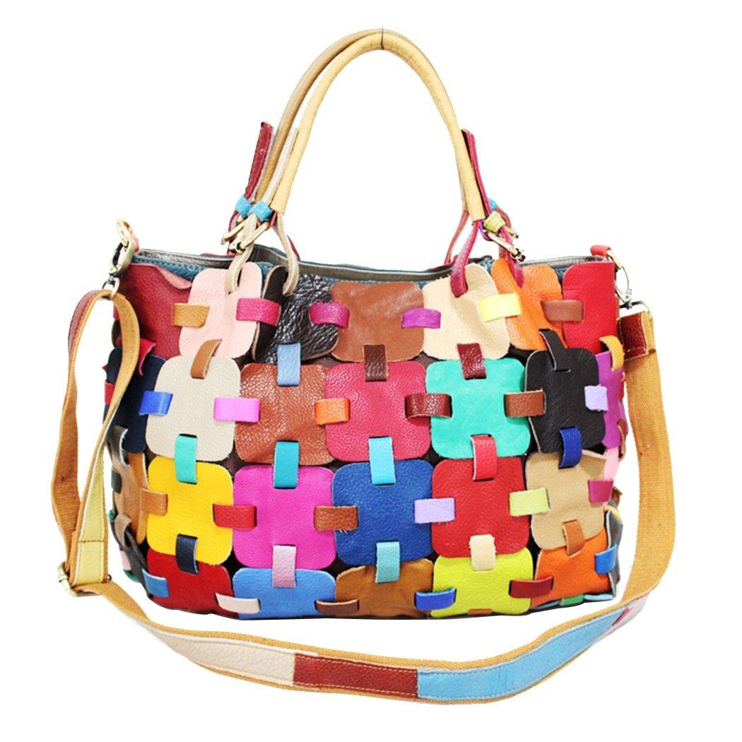 JIANFCR Damen-Taschen-Nähende Bunte Farbleder-Handtaschen-Mode-Gitter-Schulter-Tasche, mit Langen Schulter-Bügeln, Kann Schräg, Arbeit/Einkaufen/Partei/Tagesgebrauch Sein