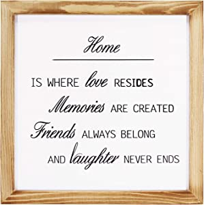 Modern Wood Home Wall Decor Sign, Wooden Framed Wall Hanging Sign, Farmhouse Decorative Home is Where Love Resides Sign,Living Room and Bedroom Decor,Rustic Home Decor Sign 12 x 12 In