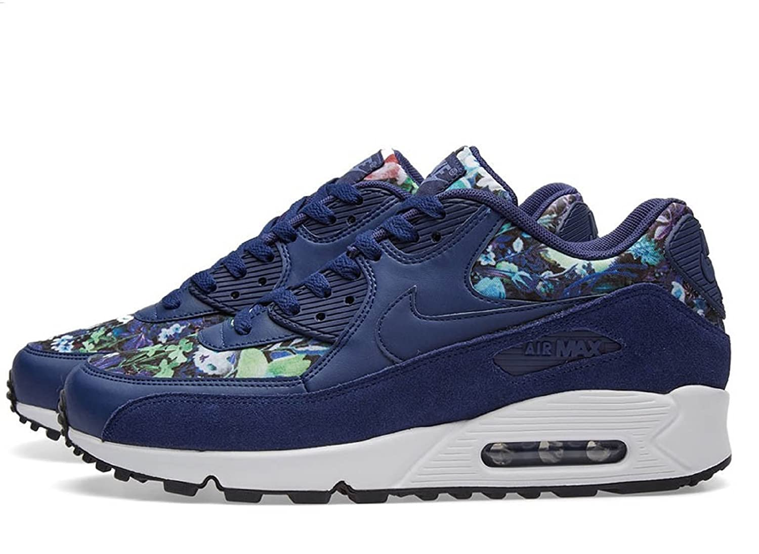 NIKE Air Max 90 SE Womens Running Shoes B06W57SBRV 6 B(M) US|Blue/Floral Blue Multi