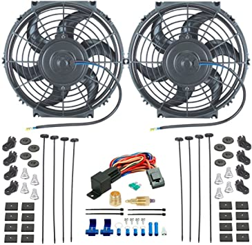 American Volt Dual 6 Inch Electric Transmission Oil Cooler Fans Push-in Probe Thermostat 2-Pack Fan
