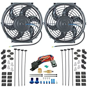 "American Volt Dual 10"" Inch Electric Radiator Cooling Fans 1/2"" 3/8"" Fan Ground Thermostat Kit"
