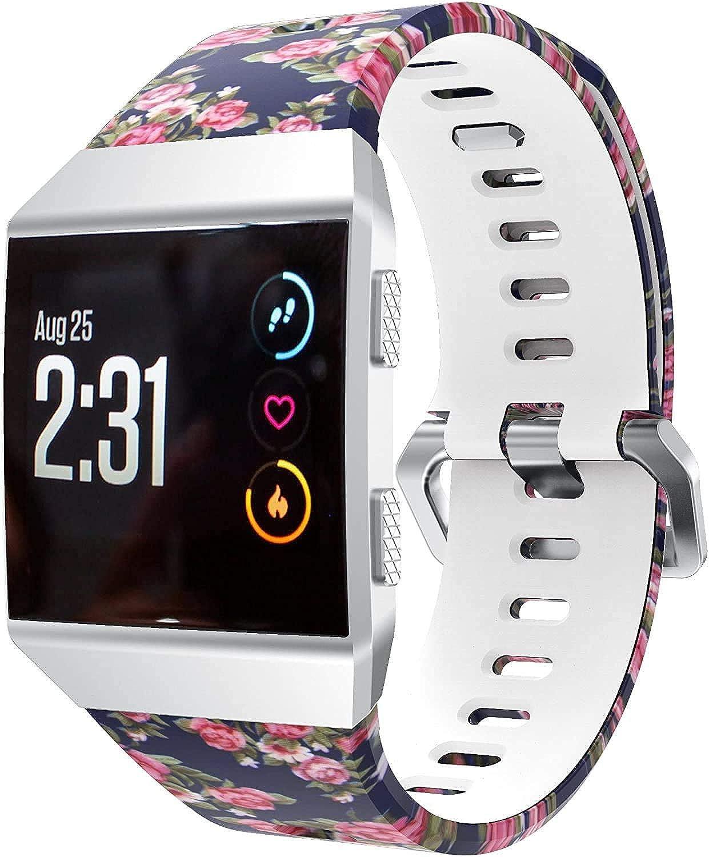 Chainfo Cinturino per Orologio compatibile con Fitbit Ionic, Braccialetto Sportivo di Ricambio in Silicone per Orologi Rosa Blu