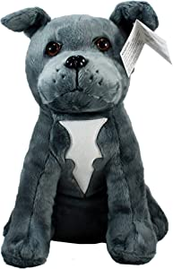 """Shelter Pets Stuffed Animals: Magnum - 10"""" Grey Pitbull Dog Plush Toy - Based on Real-Life Adopted Pets - American Staffordshire Terrier - Benefiting The Animal Shelters They were Adopted from"""
