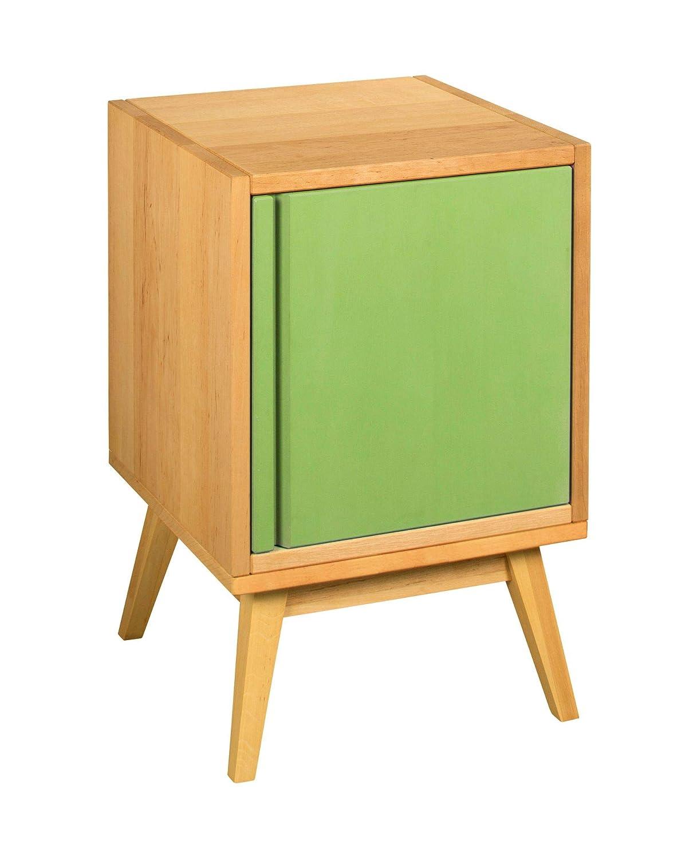 BioKinder 25275 Retrotisch Nachttisch mit Tür Beistelltisch aus Holz 40x40x62cm, Farbe:Lindgrün