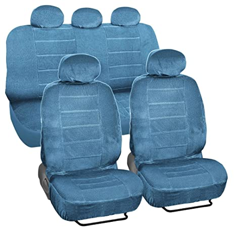 BDK Blue Dotted Cloth Low Back Regal Style 9 Piece Premium Car Seat Covers