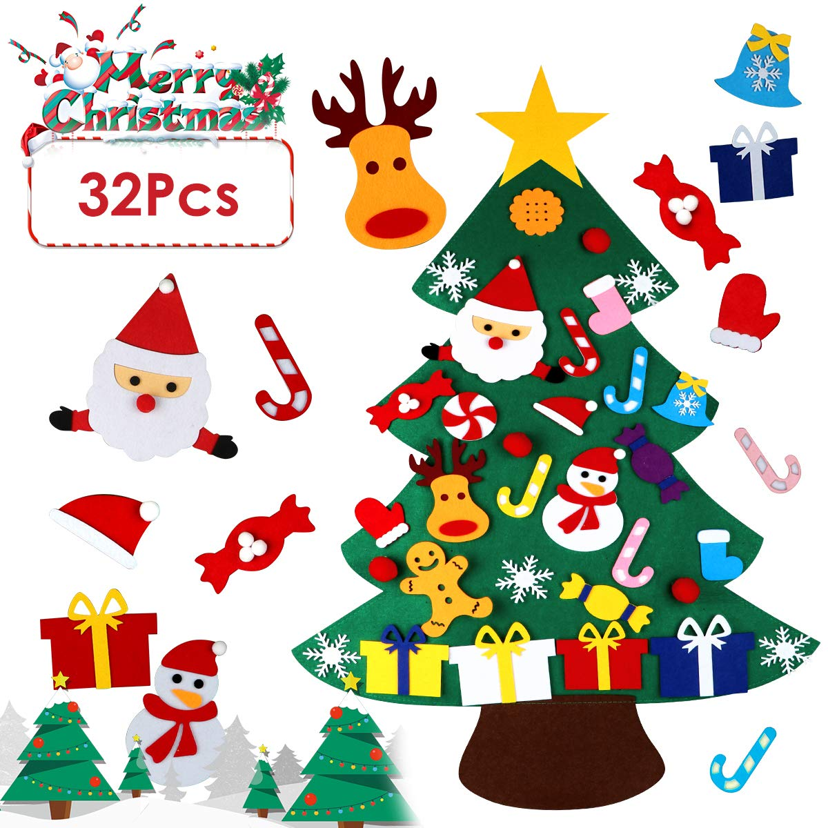 DC-BEAUTIFUL 3.28 Ft DIY Felt Christmas Tree Set, Large Size Wall Christmas Tree Set with 32 Pcs 3D Ornaments, Christmas Hanging Decor for Home, Store, Mall