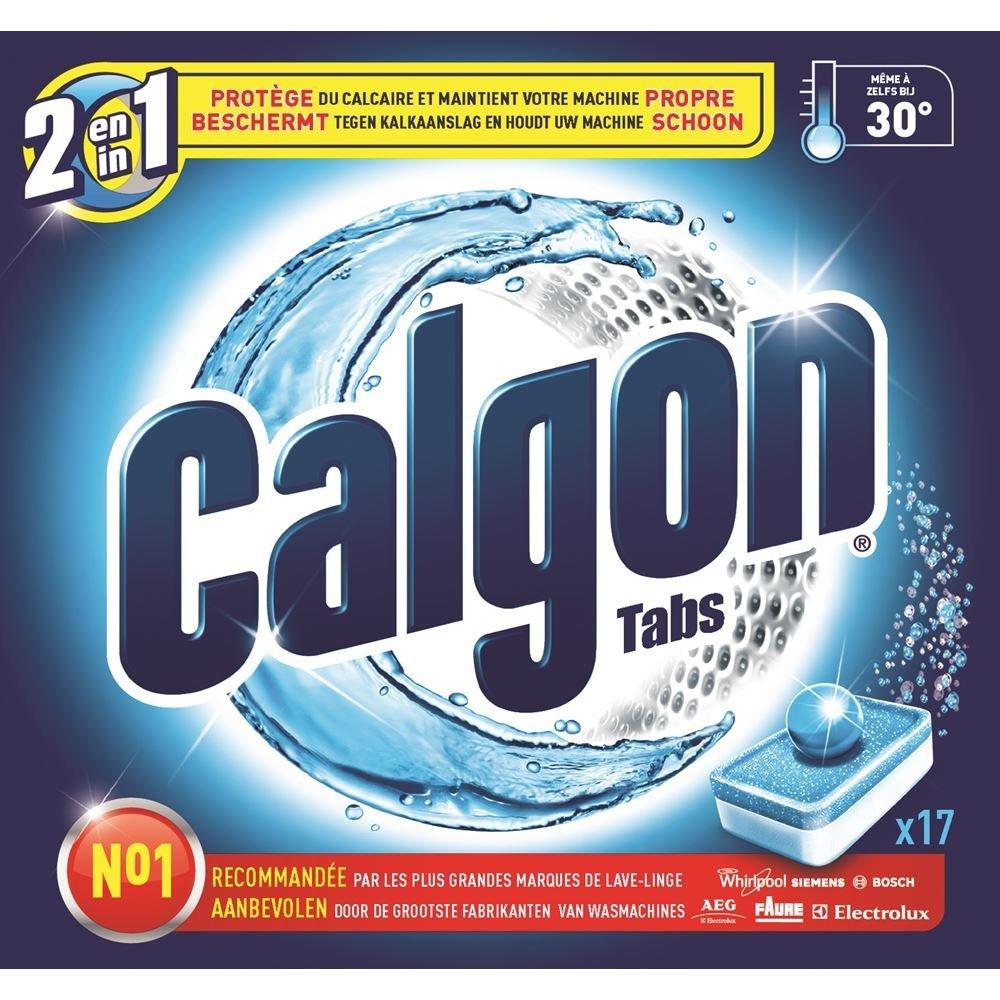 Calgon 3en1 Anticalcaire et Nettoyant pour le Lave-Linge 17 Tablettes Lot de 2