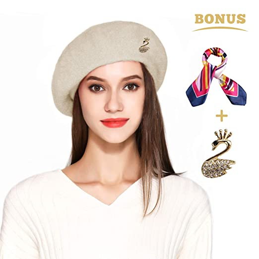 64630208058 Wool Beret Hat Solid Color French Artist Beret with Skily Scarf and Brooch  (Beige)