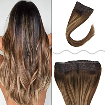 JoYoung 18inches Balayage Ombre Halo Crown Remy Straight Human Hair  Extensions Dark Brown to