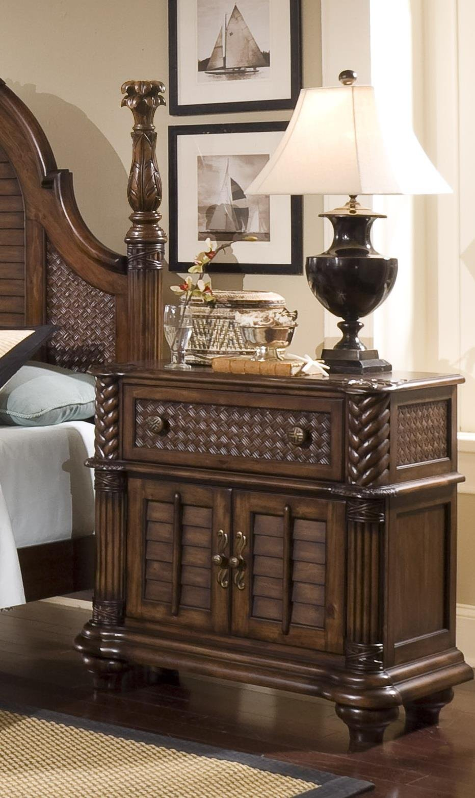 Progressive Furniture P142-45 Palm Court II Bedside Chest Nightstand, 37 x 18 x 35, Brown by Progressive International