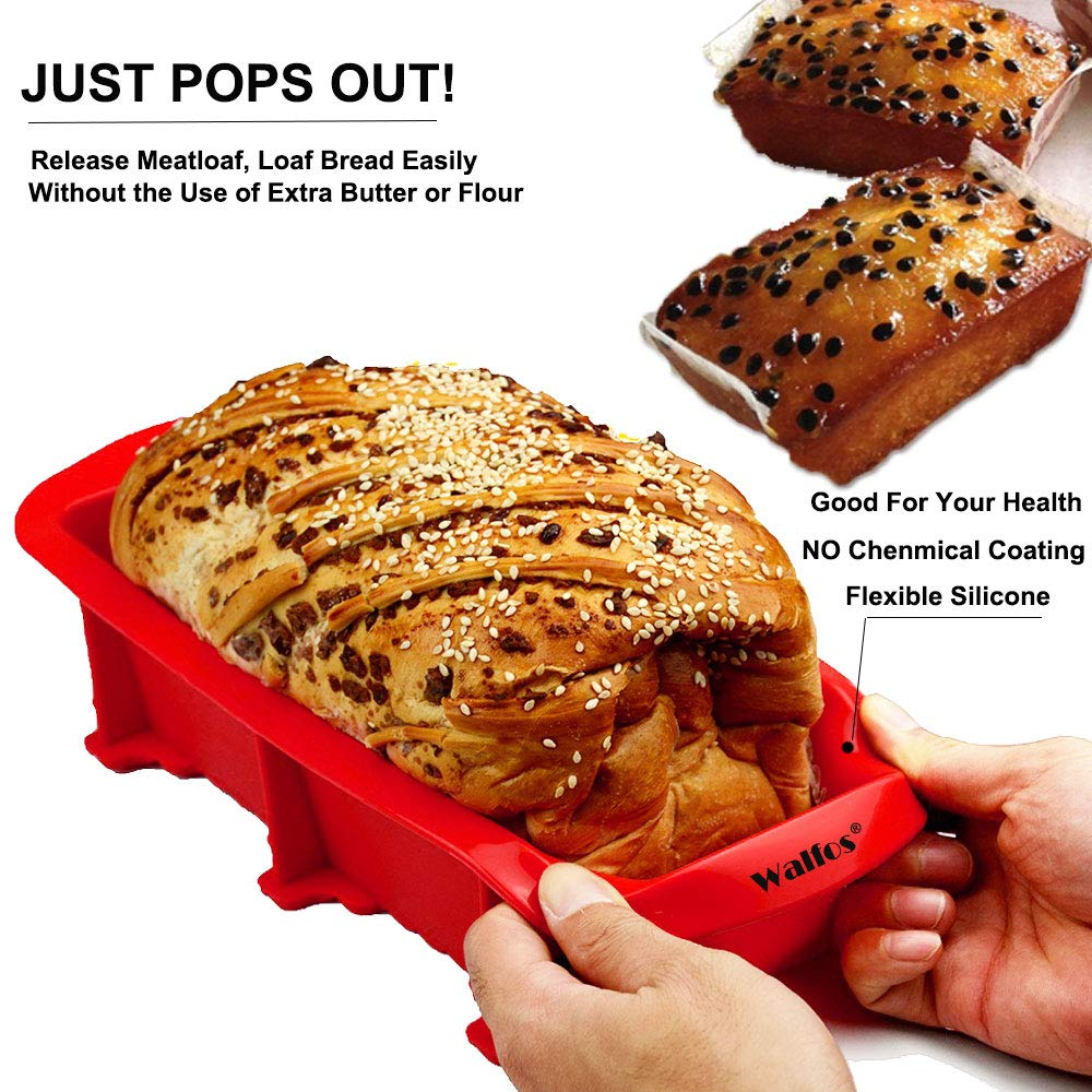 Walfos Nonstick Silicone Bread and Loaf Pan Set of 2, BPA Free ! Without Chemical Coating,Just Pop Out! Easy release and baking mold for Homemade Cakes, Breads, Meatloaf and quiche. by Walfos (Image #3)