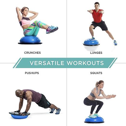 K/örperbalance bis 200kg Greensen Yoga Balance Trainer Ball Trainingshalbball mit Pumpe und 2 Zugb/ändern Gymnastikball Balancetrainer Fitness Balance Ball f/ür Krafttraining Gleichgewichtstraining