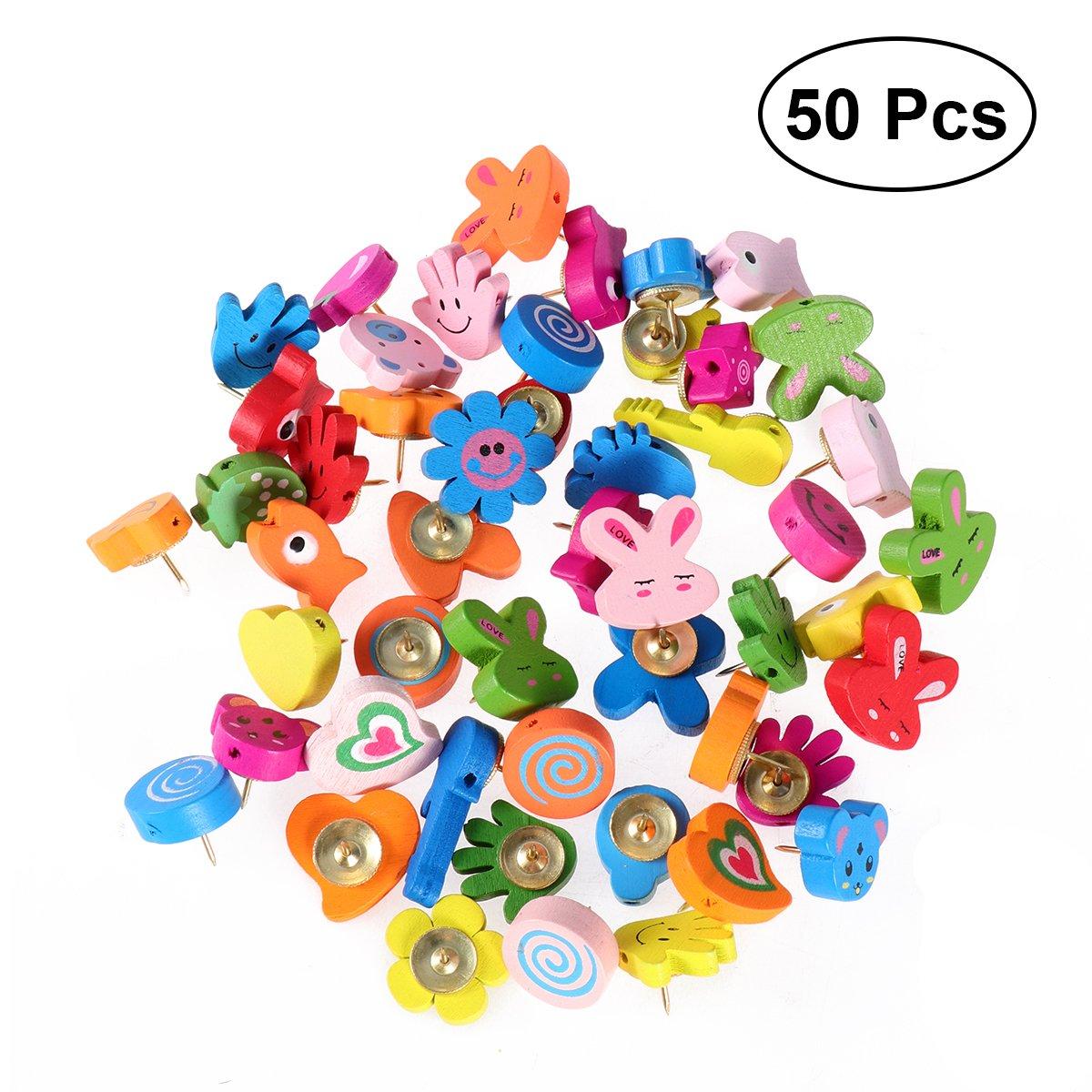 NUOLUX puntine colorate da disegno di Modello animale in legno dei cartoni animati decorative per scuola e ufficio uso, colore casuale, 50 Pezzi