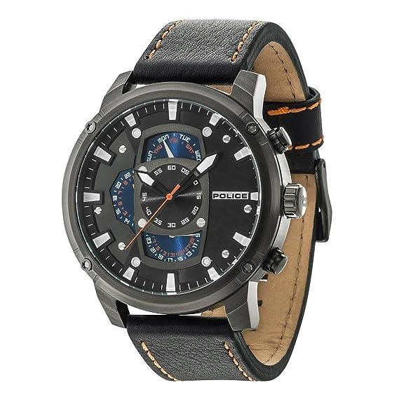 Police Reloj Multiesfera para Hombre de Cuarzo con Correa en Cuero PL14831JSU.02: Police: Amazon.es: Relojes