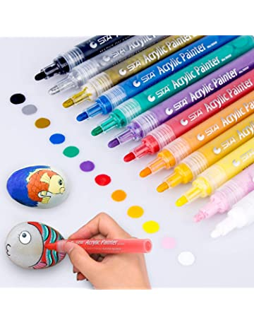 Great for Rock Wood Ceramic Acrylic Paint Markers,18 Colors Extra Fine Point Acrylic Paint Pens Set by Smart Color Art,Permanent Water Based Metal 18 Colors Glass DIY Crafts Fabric