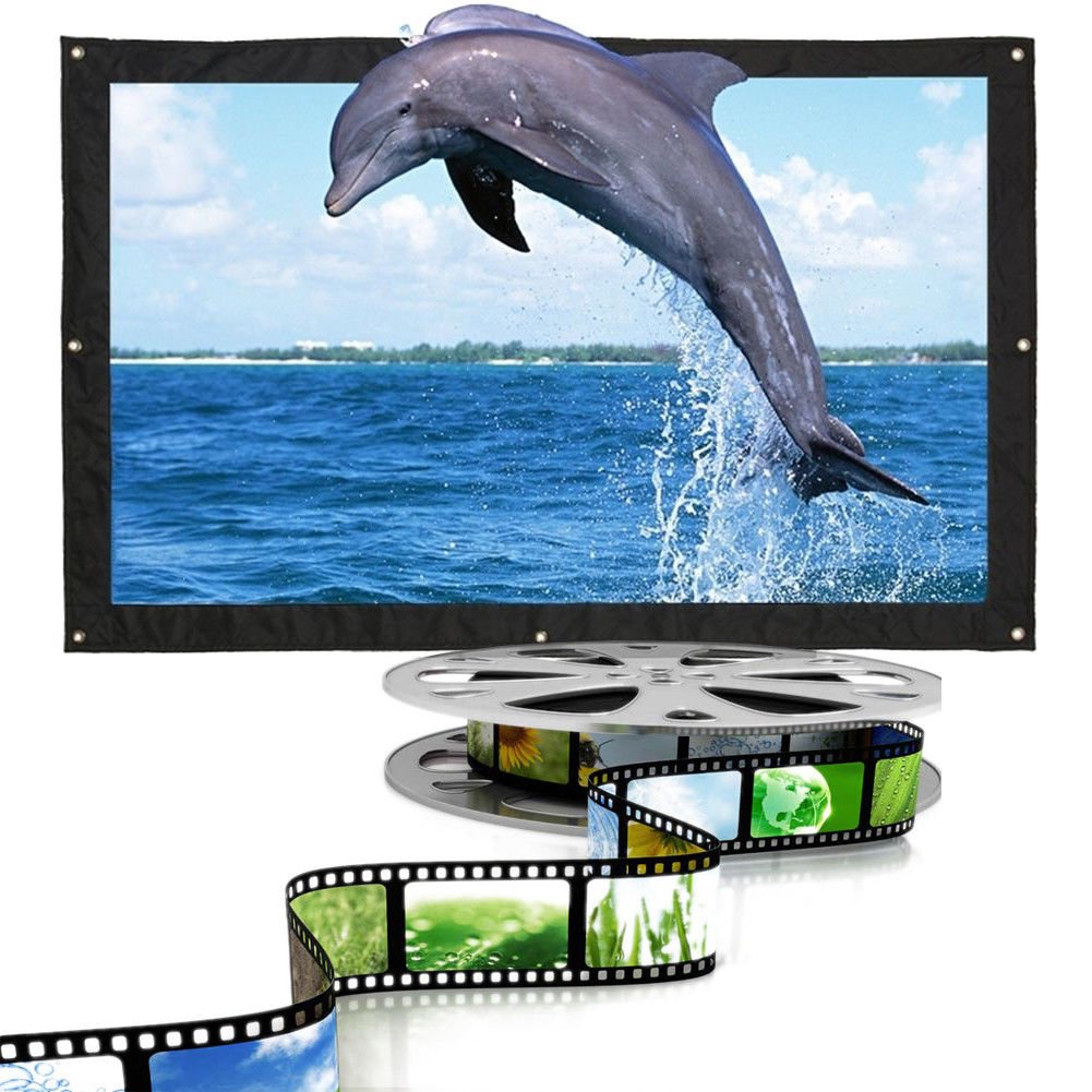 Projection Screen Projector Screen 16:9 170 Degrees Prohector Curtain Collapsible Portable 150 inch Presentation XIAOMU 173749-Xia031093