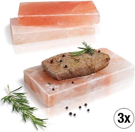 Amazy Plancha de sal para barbacoa (3 piezas) - Piedra de sal para ...
