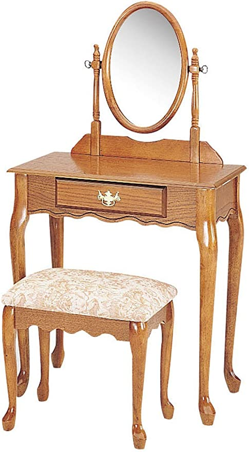 Amazon Com Acme Queen Ann 2 Piece Wood Veneer Vanity Set Oak Finish Furniture Decor