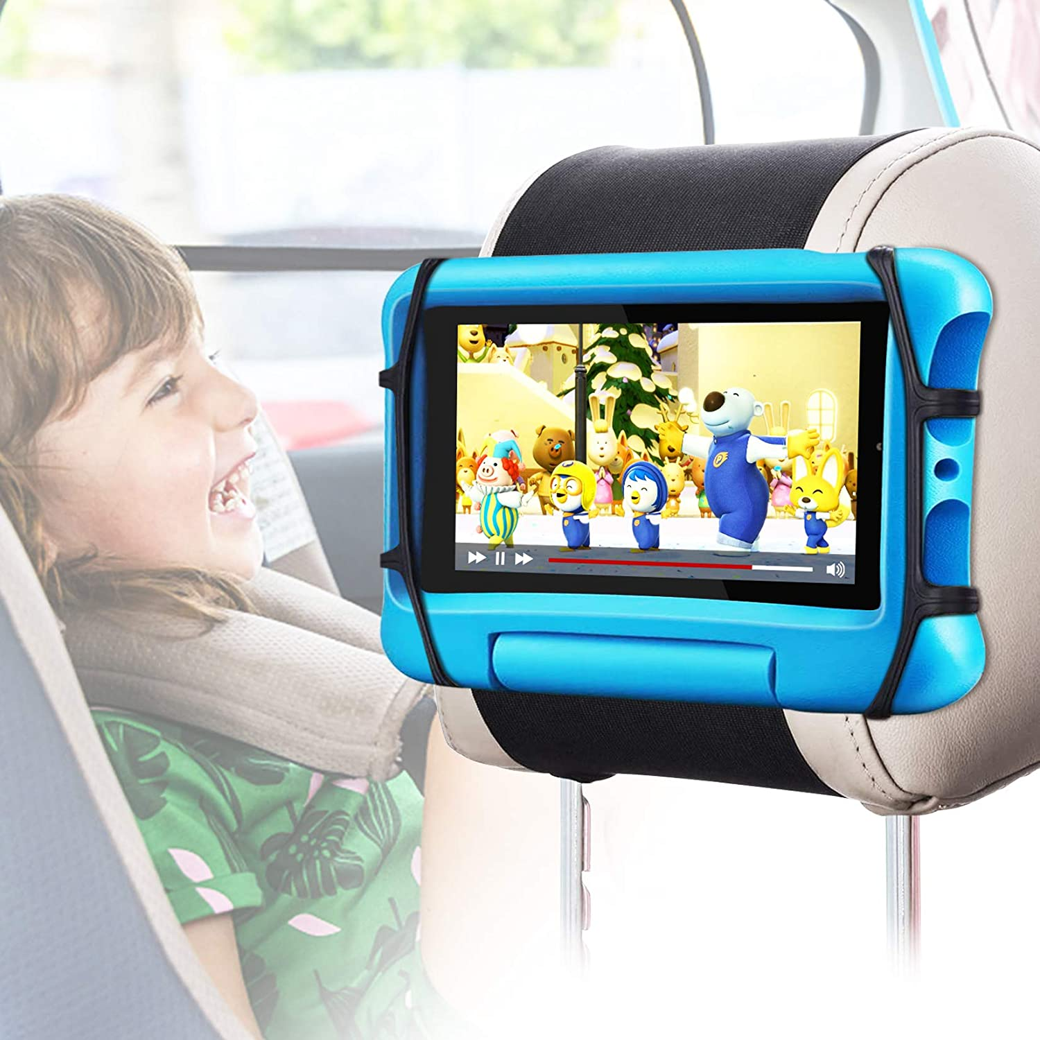 Car Headrest Mount Holder, FANGOR Universal Tablet Holder for Kids in Back Seats, Anti-Slip Strap and Holding Net,Angle-Adjustable/ Fits All 7 Inch to 10.5 Inch Tablets