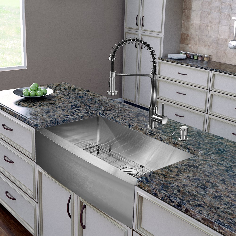 VIGO 36 Inch Farmhouse Apron Single Bowl 16 Gauge Stainless Steel Kitchen  Sink With Edison Stainless Steel Faucet, Grid, Strainer And Soap Dispenser    Touch ...