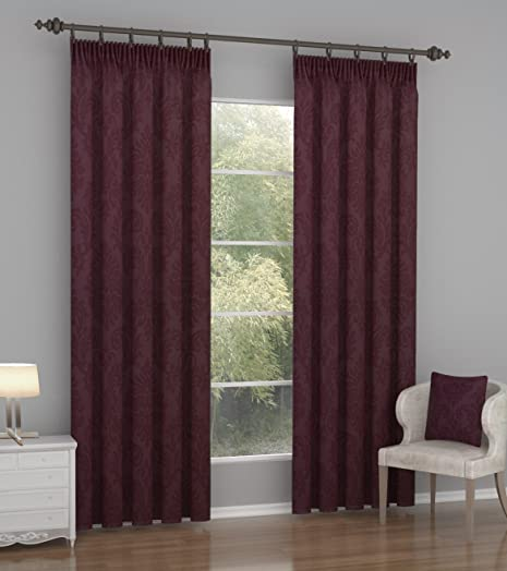 46u0026quot; X 54u0026quot; Burgundy Red Embossed Blackout Curtains Ready Made  Thermal Insulated Pencil Pleat Part 96