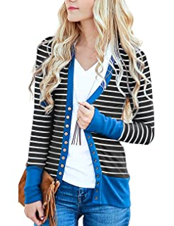 e400b9defae1b RichCoco Women's Striped Button Down Open Front Long Sleeve Contrast Color  Casual Cardigans Sweaters
