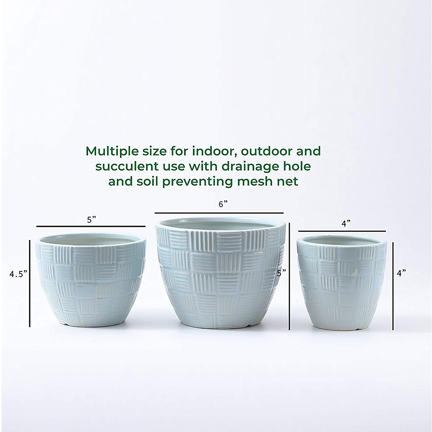 Large 6 Inch Medium 5 Small 4 Plant Pot by Naturish Set of 3 Cocoa Brown Anti Slip Glazed Ceramic Flower Pots with Drainage Holes for Indoor Planters Outdoor Garden Planters and Succulent Pot Use
