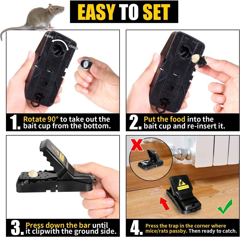 ratonera de pl/ástico para Interiores y Exteriores U//K Trampa para Ratones 8 Pcs Trampas Ratones peque/ños Reutilizables