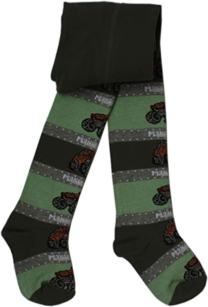 WERI SPEZIALS Tights with Flowers and Stripes in Olive for babies and children